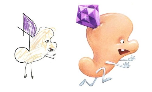 An artist transforms kids' drawings into professional illustrations and the results are adorable