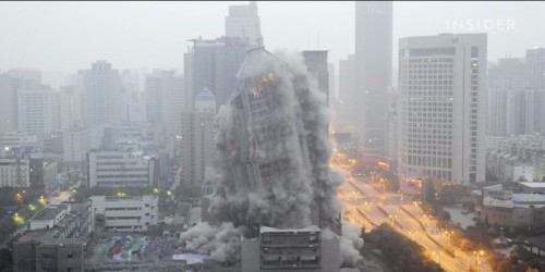 Watch China demolish a 27-story 'ghost building' in seconds