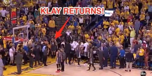 Klay Thompson injures knee, returns to court in wild Finals scene