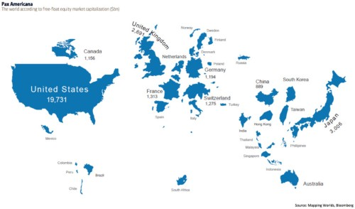 This brilliant world map shows countries scaled to the size of their stock markets