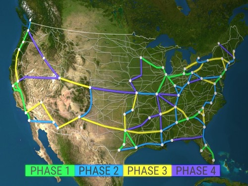 Watch an animated map of a high-speed rail network in the US