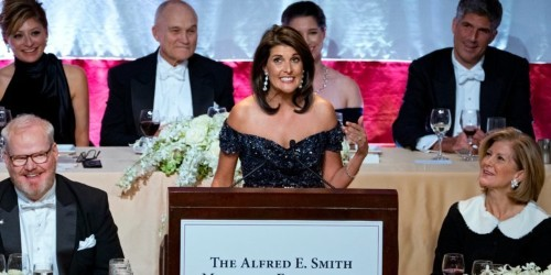Outgoing UN Ambassador Nikki Haley jokes about Trump at charity dinner