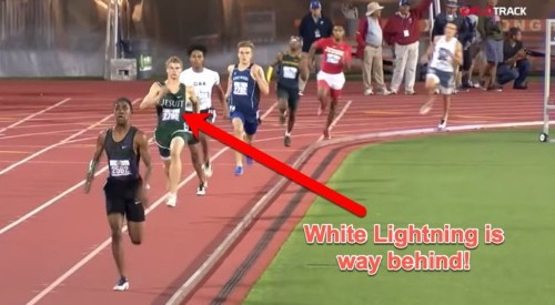 Video: 'White Lightning' sets 100-meter record, has epic comeback in 4x400