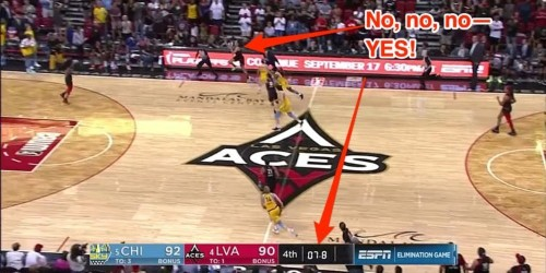 Las Vegas Aces player hits incredible, 38-foot, game-winning shot on a stolen pass in a chaotic finish
