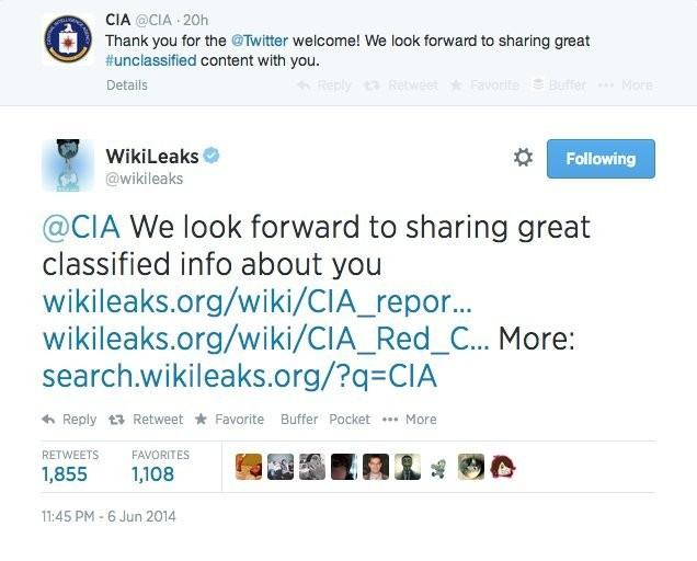 Wikileaks Had A Great Response To The CIA Joining Twitter