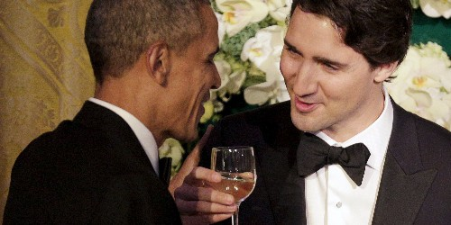 Photos of Justin Trudeau and Barack Obama in a bromance