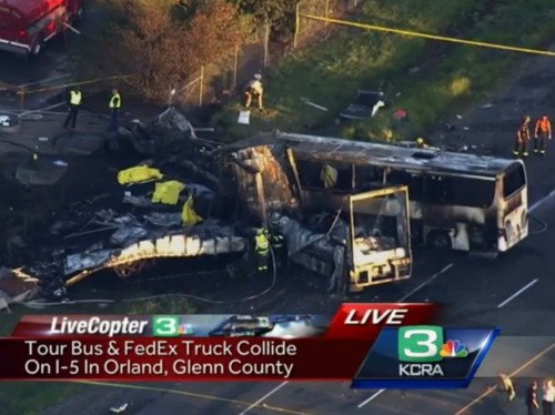 At Least Nine Killed, 32 Injured After Tour Bus Collides With FedEx Truck In Northern California