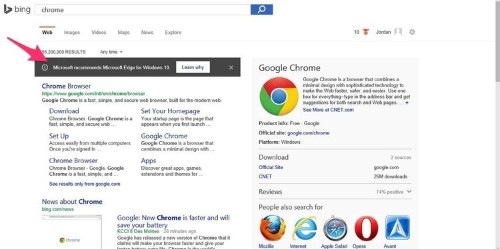 Microsoft is trying to stop users from downloading Chrome or Firefox
