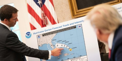 White House picture shows Trump being told Alabama not in Dorian path