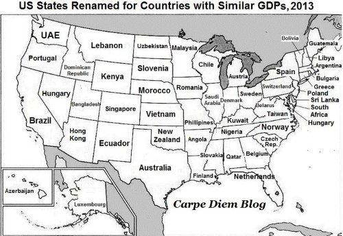 This brilliant map renames each US state with a country generating the same GDP