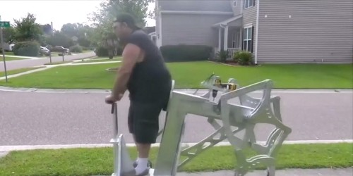 This guy built a walking machine powered by a hand drill