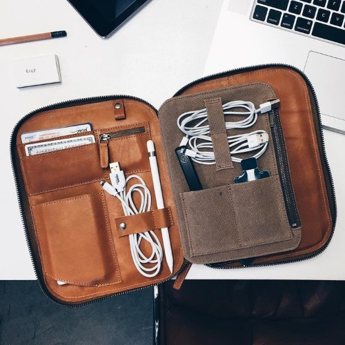 Organize your everyday carry with these stylish leather tech cases