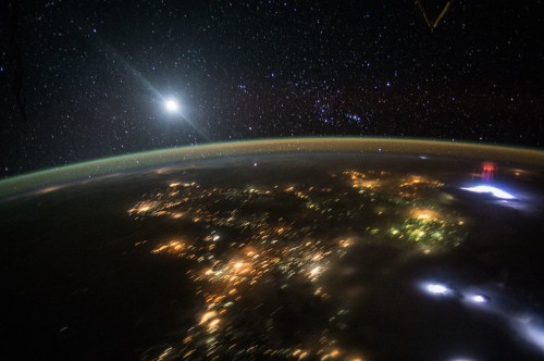 Astronauts in space have captured a rare image of a giant red sprite
