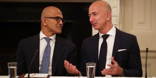 CEO Satya Nadella says that Microsoft is embracing Amazon's Alexa instead of fighting it — and he wants to be friends with Google, too