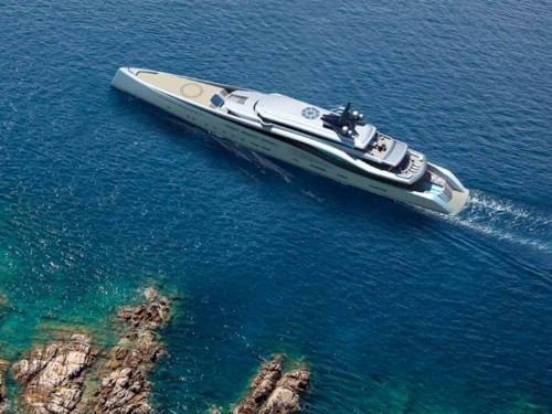 This 351-foot concept superyacht has a waterfall, 360-degree glass elevator, and two pools