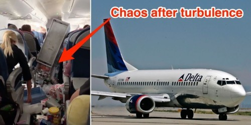 Video shows chaos on Delta flight after an emergency landing caused by 'crazy' turbulence as 'atmospheric river storm' batters the Western US