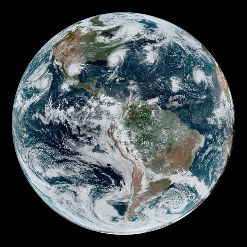 A NASA satellite captured Hurricane Dorian and three other cyclones lined up across the globe in one image