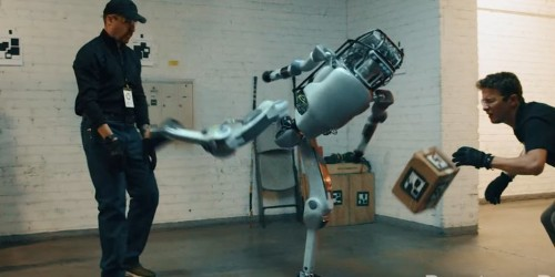 A Boston Dynamics-like robot fights back in a new parody video