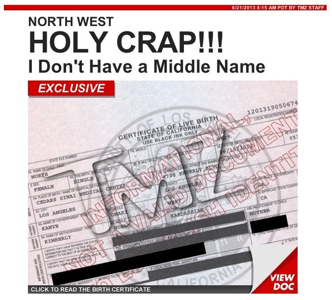North West Birth Certificate Revealed: No Middle Name, Weighs 5 Pounds