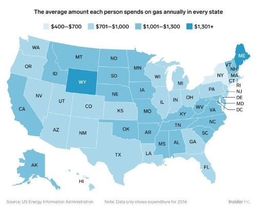 Here's how much the average person spends on gas in every state