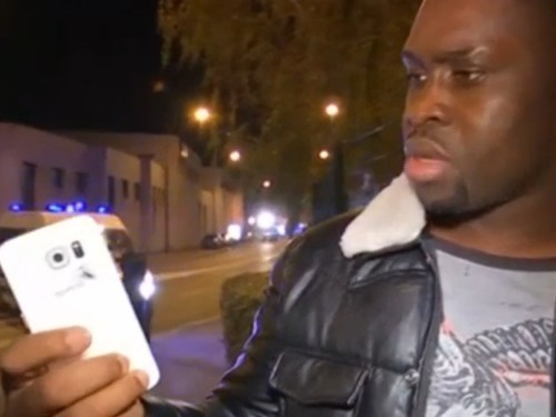 A Paris man who was talking on the phone when a bomb went off says the Samsung device saved his life