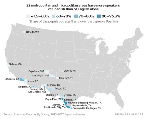 Here are the 22 US cities and towns with more Spanish than English speakers