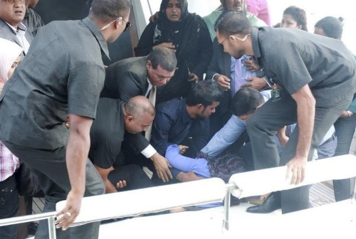 Somebody tried to assassinate the president of the Maldives by putting a bomb in his speedboat