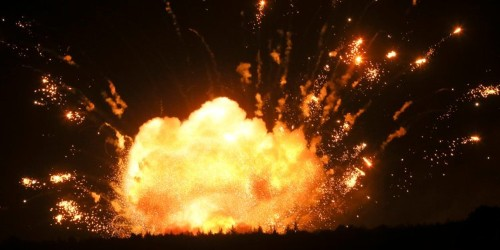 An ammunition dump at a Russian military base exploded, injuring multiple people