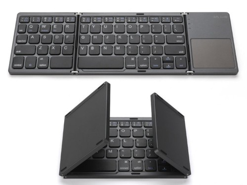 This portable Bluetooth keyboard folds up to be under 6 inches wide for easy portability