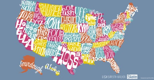 This map shows the most popular slang word in every state