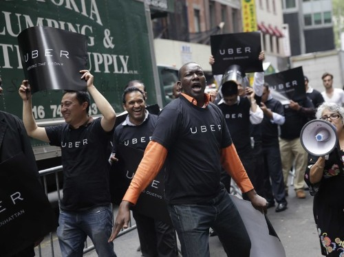 Uber is offering free rides to its own protest today