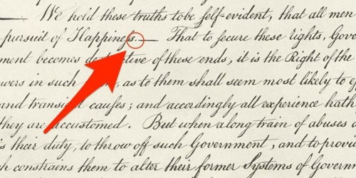 An extra period in the Declaration of Independence might change our understanding of government