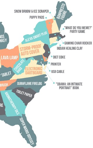 This map shows the most popular purchase in every US state