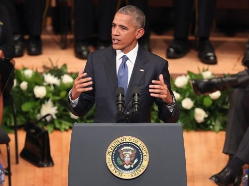 Obama criticized for gun control comments during Dallas memorial speech