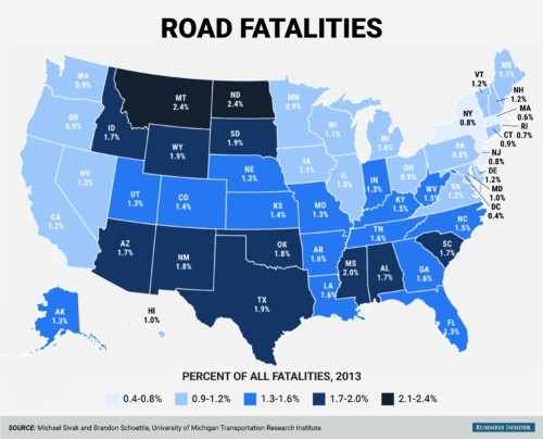 Here's the percentage of deaths caused by car crashes in each state