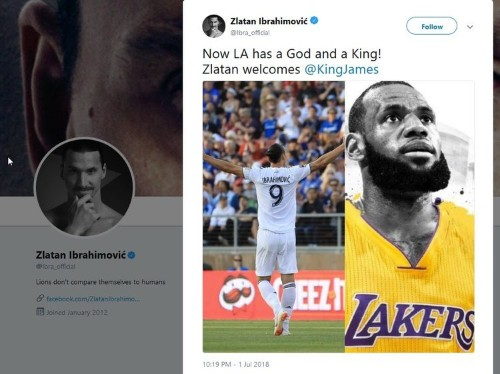 Zlatan Ibrahimović welcomed LeBron James to Los Angeles in the most Zlatan way possible