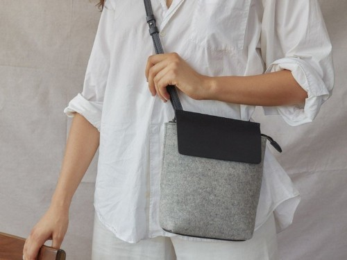 These minimalist bags are made from water-resistant wool felt that can hold up to wintry weather without sacrificing style