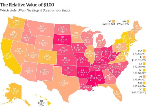 This map shows what $100 is really worth in your state - Business Insider