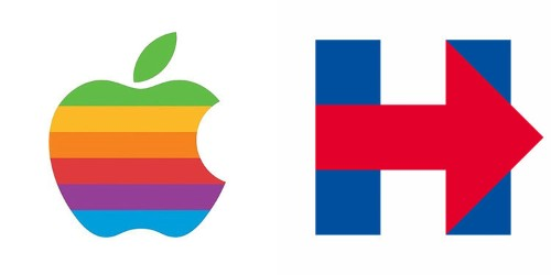 Hillary Clinton's campaign drew inspiration from the Apple logo