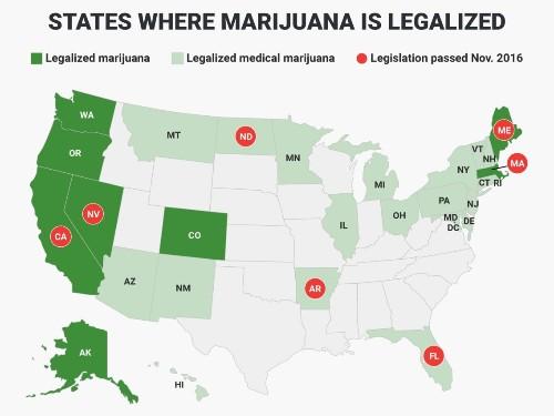 7 states that legalized marijuana on Election Day