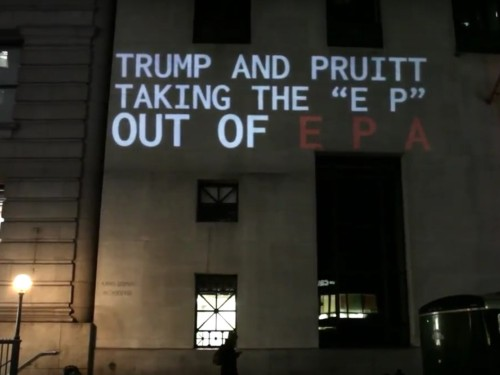 Climate activists troll Trump by projecting images of rising sea levels on one of his buildings