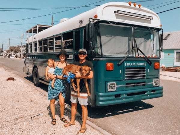 Family of four converted a decommissioned Air Force bus into an RV - Business Insider