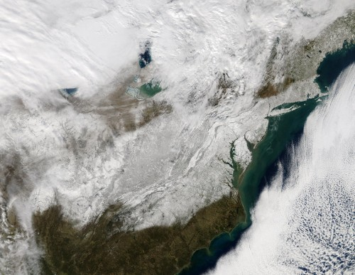 Incredible NASA images show the East Coast covered in snow after Jonas