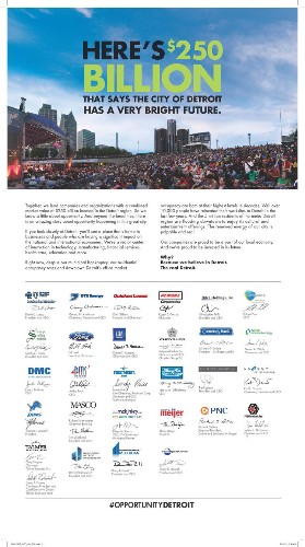 Detroit Megafirms Take Out Full-Page Ad In The New York Times And Washington Post Touting City's 'Opportunity'