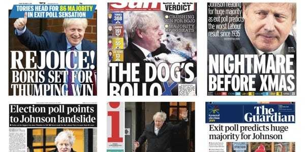 UK newspaper front pages announcing Boris Johnson's expected win - Business Insider