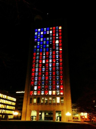 MIT Lights Up In Red, White, And Blue After The Boston Marathon Bombings