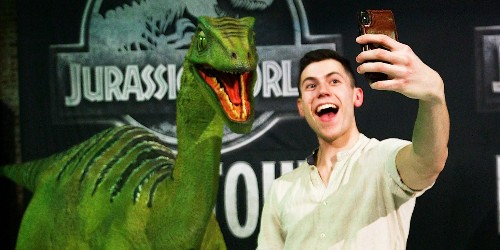 These dinosaur puppets come to life in the live 'Jurassic World' show