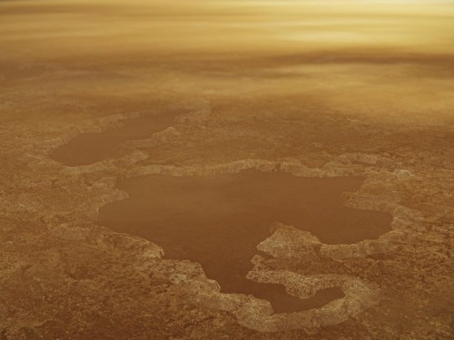 Lakes of methane on Saturn's moon Titan may be the craters of giant explosions, a new study shows