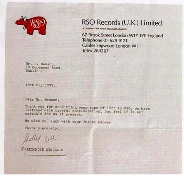 For Those Who Get Discouraged When They Hear The Word 'No'... Here's A Rejection Letter U2 Got From A Record Label In 1979