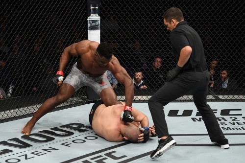 Ngannou knocked out his opponent in 26 seconds, insulted Brock Lesnar, then called-out heavyweight champ Dan Cormier at a wild UFC event